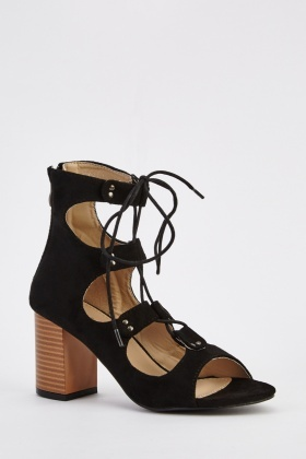 Suedette Tie Up Block Heel Sandals