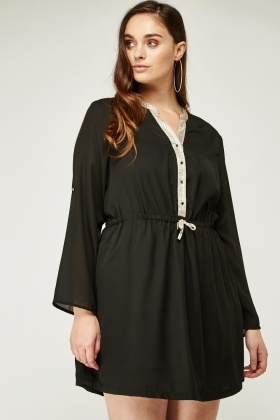 Metallic Button Placket Front Tunic Dress