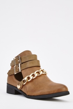 Chained Twin Buckle Ankle Boots