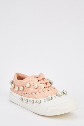 Embellished Faux Leather Trainers