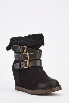 Suedette High Top Wedge Boots