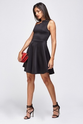 Asymmetric Scallop Trim Dress