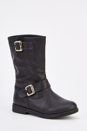 Double Buckled Aged Leather Effect Boots