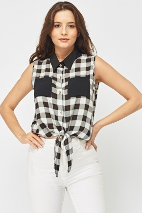 Gingham Tie Up Waist Shirt