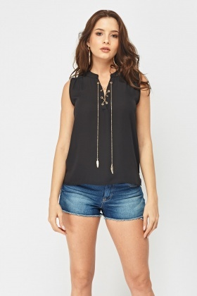 Lace Up Chain Front Top