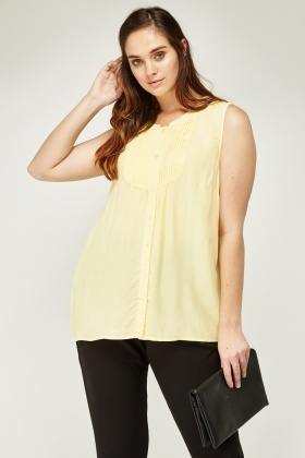 Pleated Bib Front Yellow Top