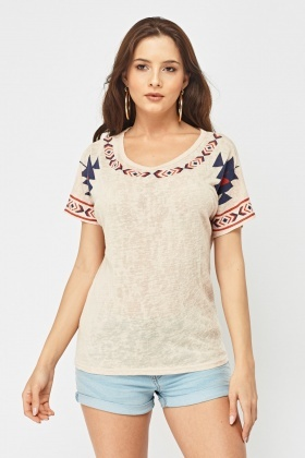 Tribal Print Basic Top