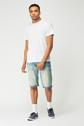 Washed Denim 3/4 Leg Denim Shorts