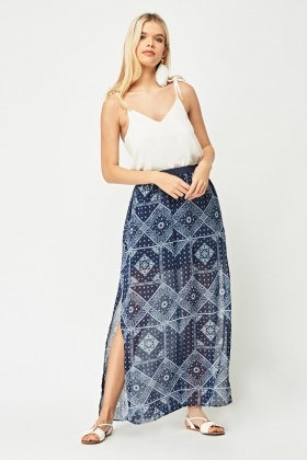 Bandana Print Sheer Maxi Skirt