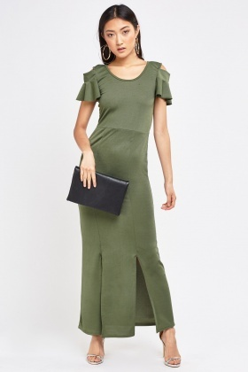 Cut Out Shoulder Maxi Dress