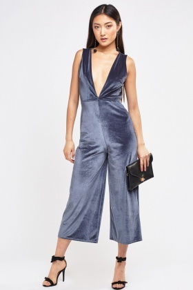 Low Plunge Velveteen Jumpsuit