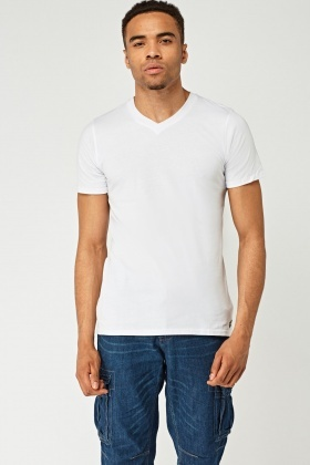 Pack Of 2 White V-Neck T-Shirts