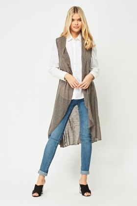 Thin Knit Sleeveless Cardigan