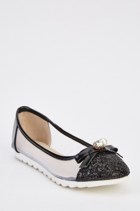 Glitter Bow Detail Ballerina Pumps