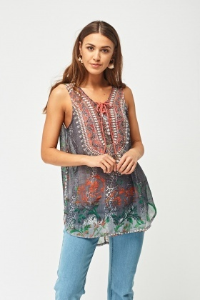 Ethnic Printed Lace Up Top