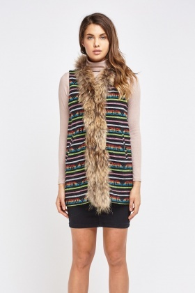 Knitted Geo Contrast Trim Gilet