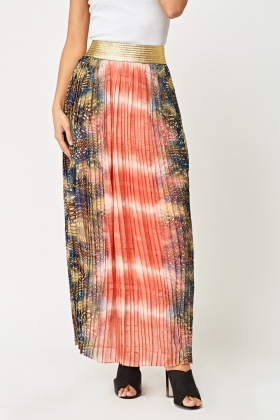 Metallic Waist Pleated Maxi Skirt