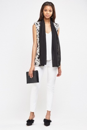 Paisley Textured Sleeveless Sheer Gilet