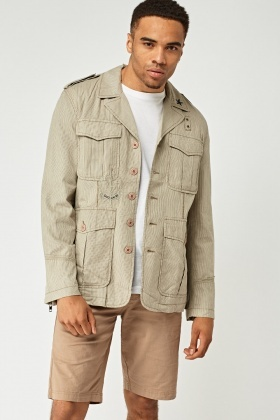 Pinstriped Multi Pocket Front Jacket