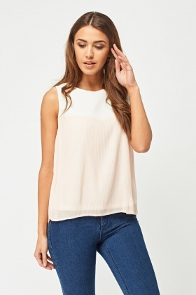 Pleated Colour Block Top