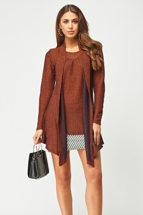 Speckled Asymmetric Knitted Top