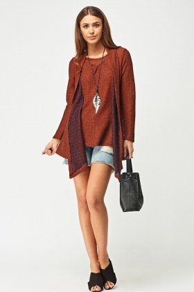 Speckled Overlay Knit Top