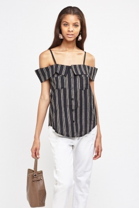 Linen Striped Bardot Top