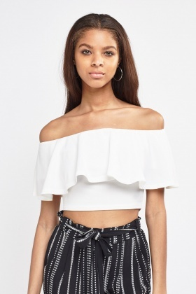 d5f2688e7447c Off Shoulder Ruffle Crop Top - Just £5