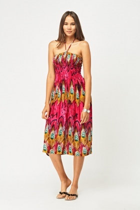 Peacock Feather Print Bandeau Dress