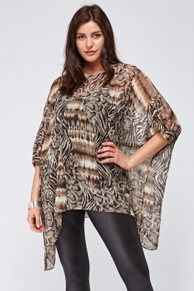 Sheer Printed Cover Up Top