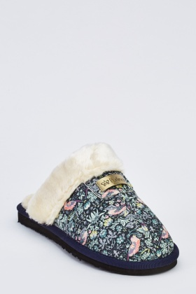 Bird Printed Contrast Insert Slippers