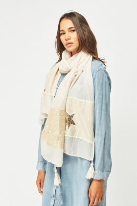 Sequin Star Tasseled Scarf