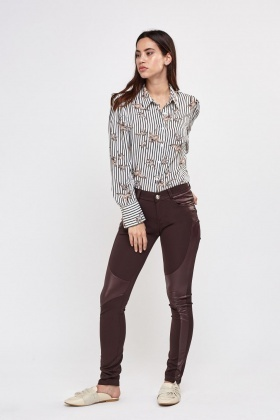 Contrast Faux Leather Insert Trousers