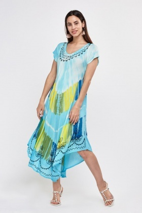 Dip Dye Embroidered Asymmetric Dress