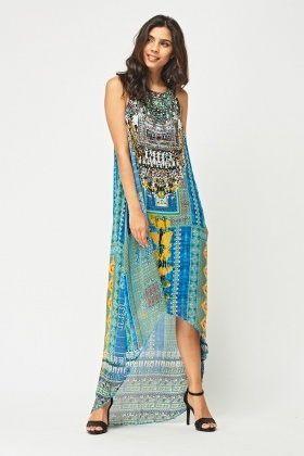 Embellished Detail Print Hi-Lo Dress