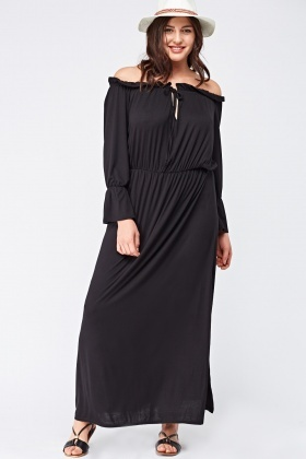 Frilly Off Shoulder Maxi Dress