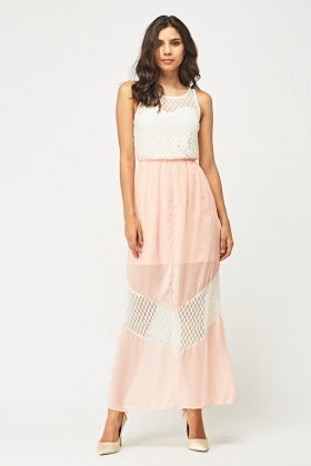 Mesh Illusion Maxi Dress