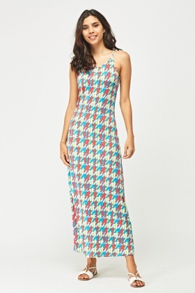 Multi Coloured Print Maxi Dress