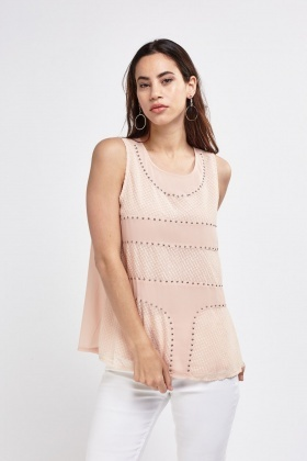 Studded Contrast Sheer Top