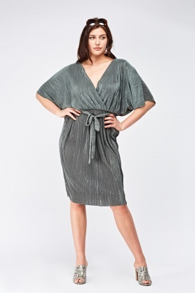 Wrap Front Pleated Midi Dress