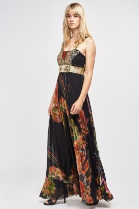 Metallic Detail Sheer Printed Maxi Dress