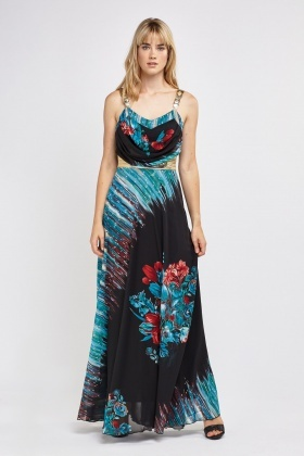 Cowl Neck Multi Printed Maxi Dress