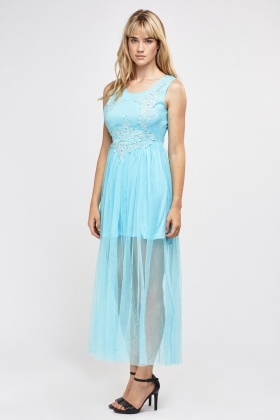 Crochet Net Overlay Maxi Dress