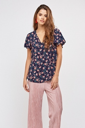 Ditsy Floral Print Sheer Top