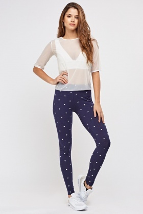 Heart Printed Basic Leggings