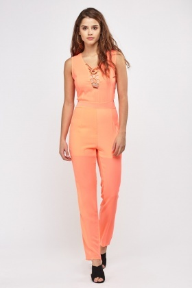 Lace Up Low Plunge Jumpsuit