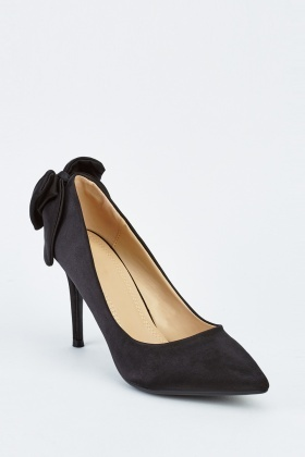 Bow Back Sateen Court Heels