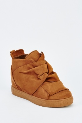 Bow Front Suedette Platformed Trainers