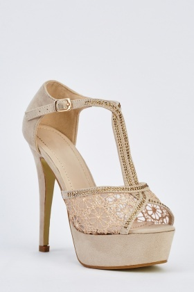 Detailed T-Bar Peep Toe Platform Sandals