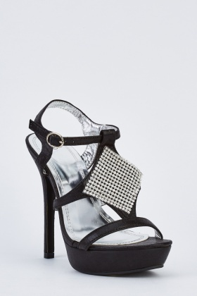 Encrusted High Heel Platform Sandals